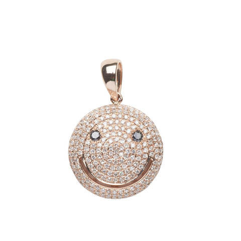 Less 50% now : 18k rose gold Happy pendant with white & black diamonds