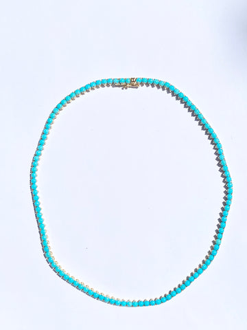 18k yellow gold & turquoise necklace