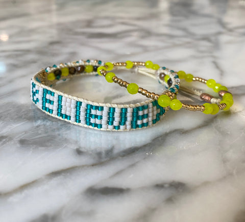 Beaded Friendship BELIEVE band with neon yellow jade bracelet