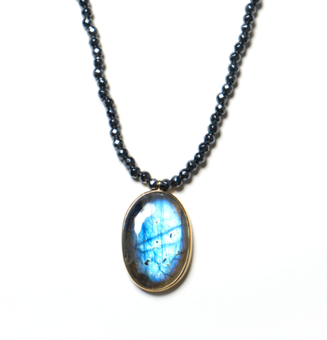 Labradorite pendant on black Hematite healing necklace - SOLD OUT