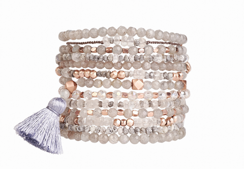 RawLuxe : 18k rose gold nuggets with moonstones & rough diamonds healing bracelet 40% off now