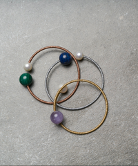 3 Bangle Pack - Pearl/Lapis Lazuli, Peal/Malachite, Pearl/Amethyst