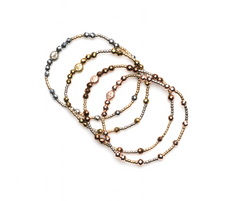 Hematite 4 Bracelet Pack - Yellow Gold, Rose Gold,  Copper & Silver Hematite