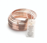 New : Rose Gold bangles with a Hematite bead Healing Bracelet (set of 10)