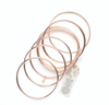 Rose Gold bangles with a Hematite bead Healing Bracelet (set of 10)
