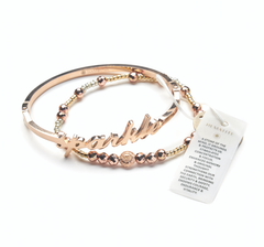 Sparkle Bangle + Hematite Healing Bracelet (Rose Gold or Yellow Gold)