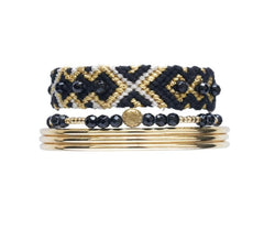 Friendship band black & Bangles stack - yellow gold