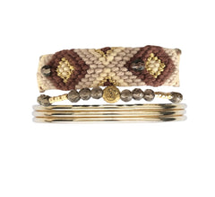 Friendship band beige & Bangles stack - yellow gold
