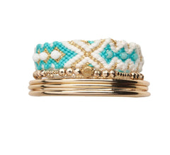 Friendship band turquoise & Bangles stack - yellow gold