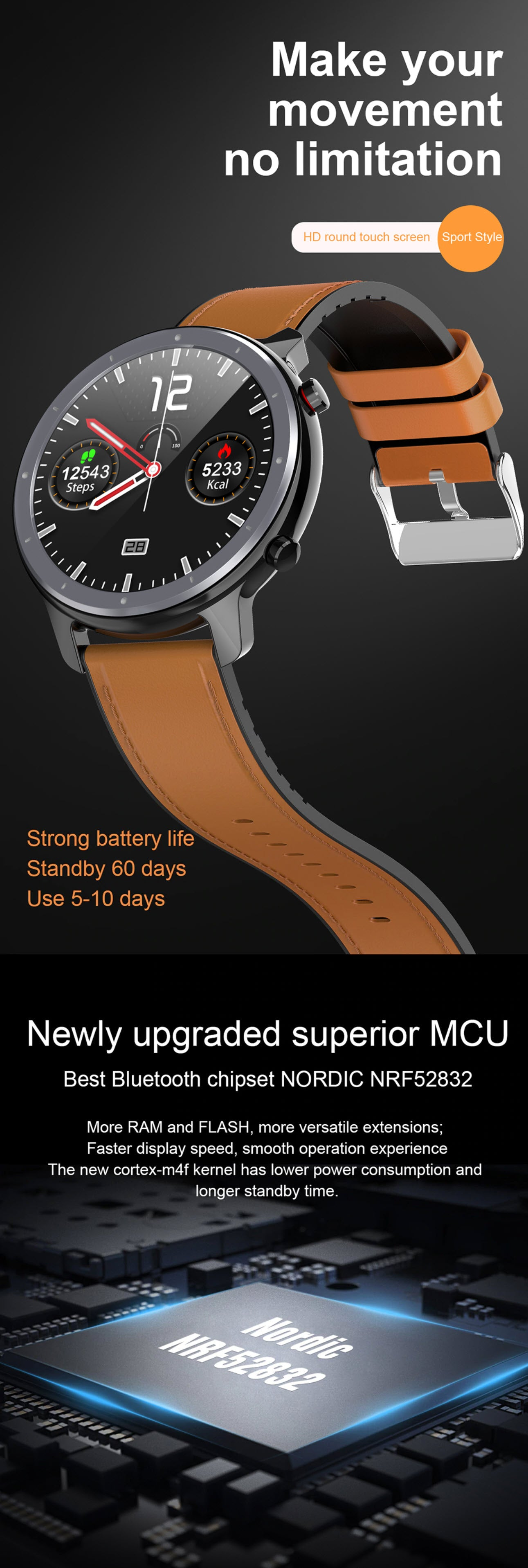 LEMFO L11 Smartwatch and Fitness Tracker Make Your Movement No Limitation New Upgraded Superior MCU