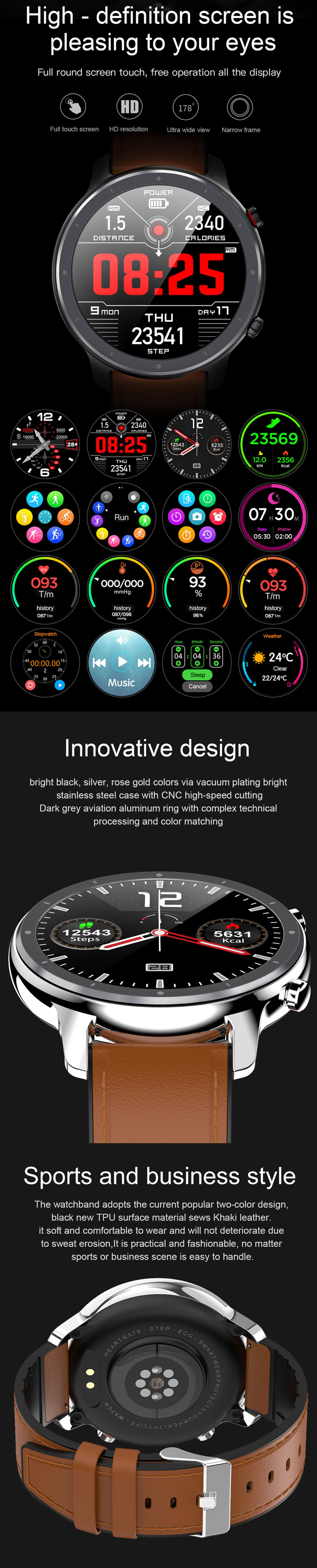LEMFO L11 Smartwatch and Fitness Tracker High DEF Screen, Innovative Design, Sports and Business Style