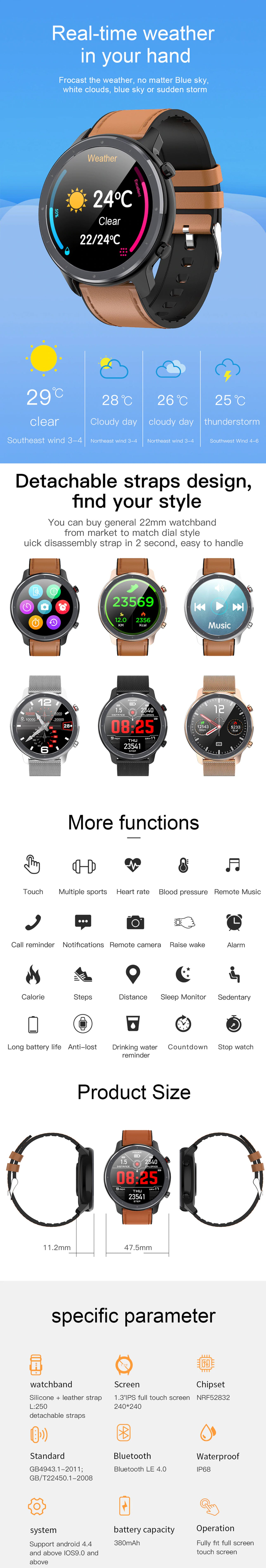 LEMFO L11 Smartwatch and Fitness Tracker Weather Updates, Interchangeable Strap Options, Functions, Product Size, and Specifications