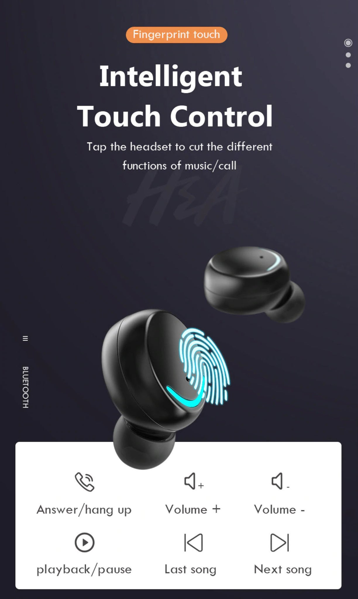H&A TWS-F9-8 Wireless Sport Bluetooth Earphones with Intelligent Touch Control