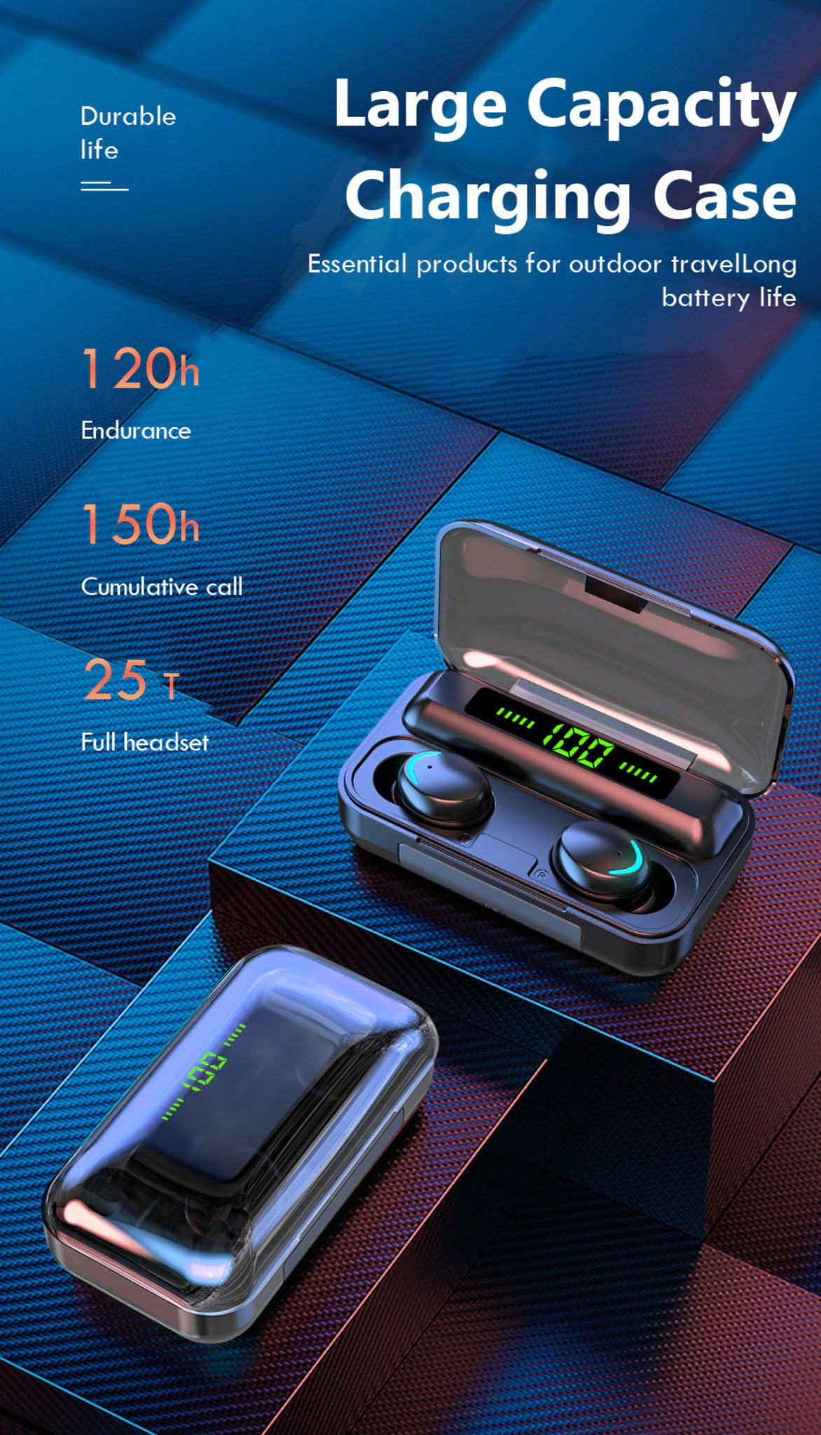 H&A TWS-F9-8 Wireless Sport Bluetooth Earphones Large Capacity Charging Case