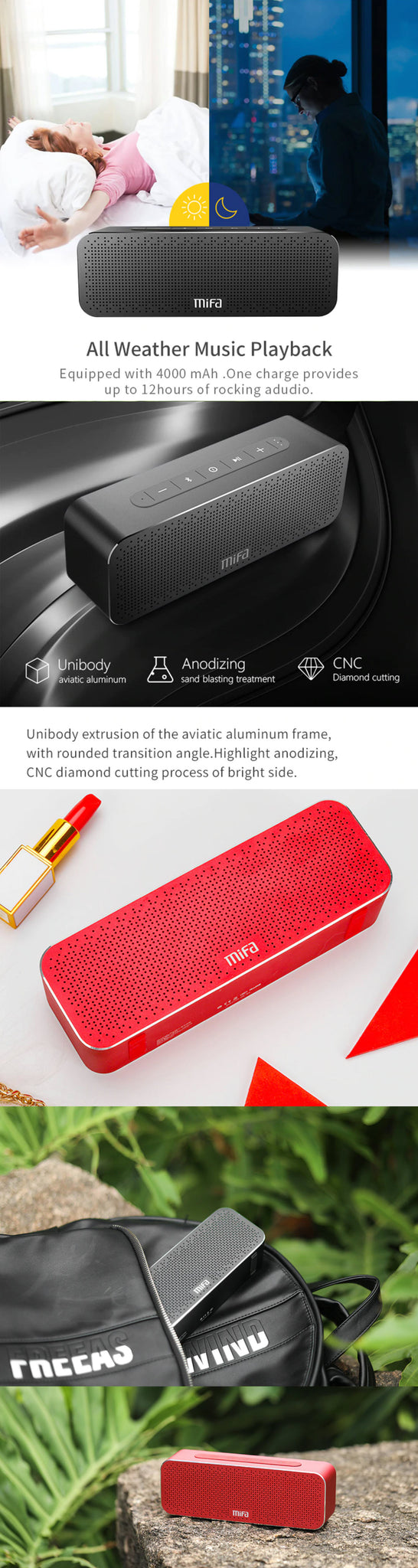 MIFA Portable Bluetooth Speaker Boombox All Weather Music Playback and Other Features