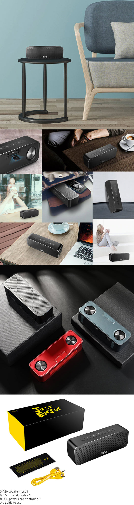 MIFA Portable Bluetooth Speaker Boombox Items List and Product Images