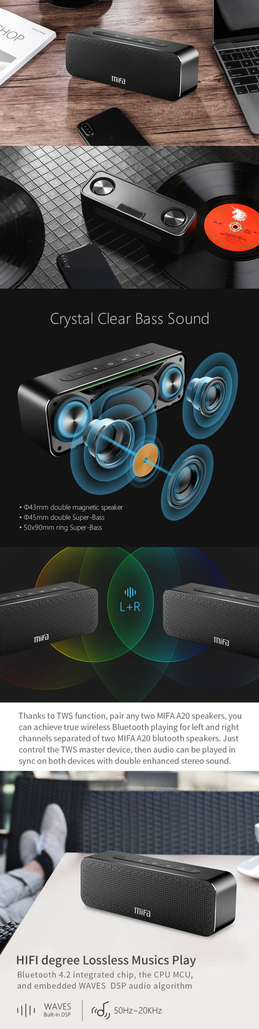 MIFA Portable Bluetooth Speaker Boombox Crystal Clear Bass Sound and Other Features