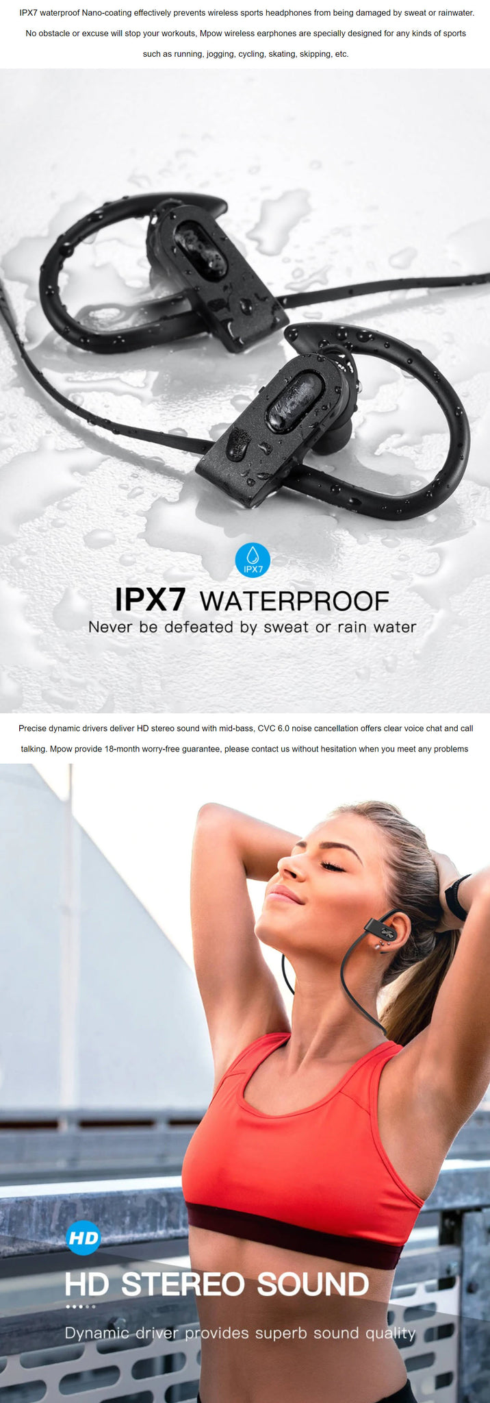 MPOW Flame 2 Sport Bluetooth Earphones IPX7 Waterproof Rating HD Stereo Sound Quality