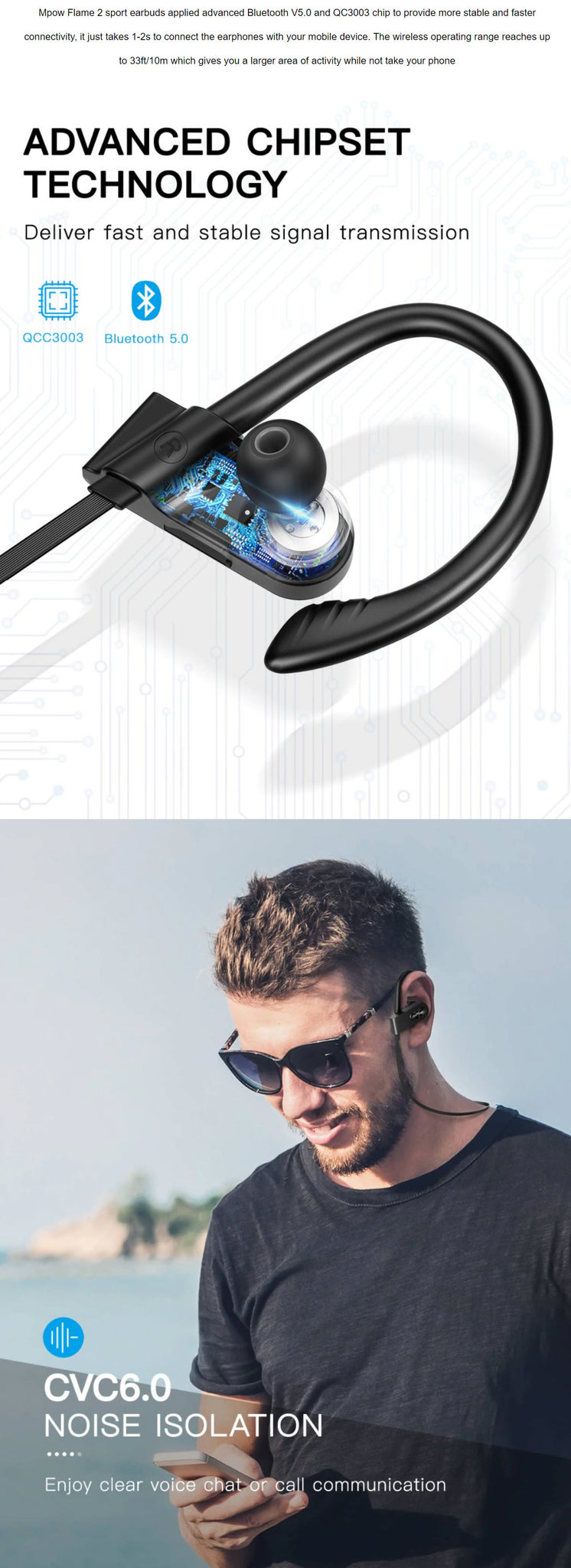 MPOW Flame 2 Sport Bluetooth Earphones Advanced Bluetooth Chipset Technology CVC6.0 Noise Isolation