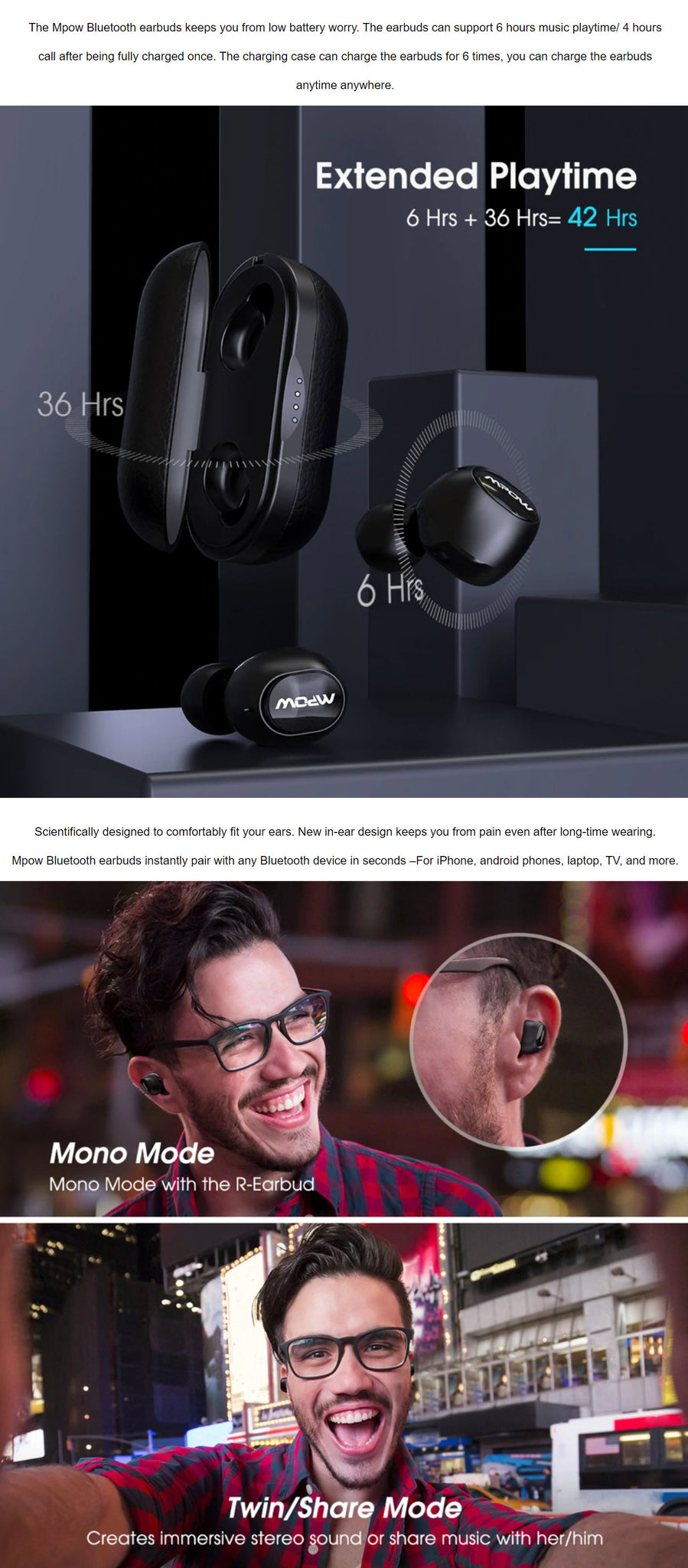 MPOW M5 Upgraded Bluetooth Earphones Extended Playtime 6+ Six Plus Hours Mono Mode Twin Share Mode