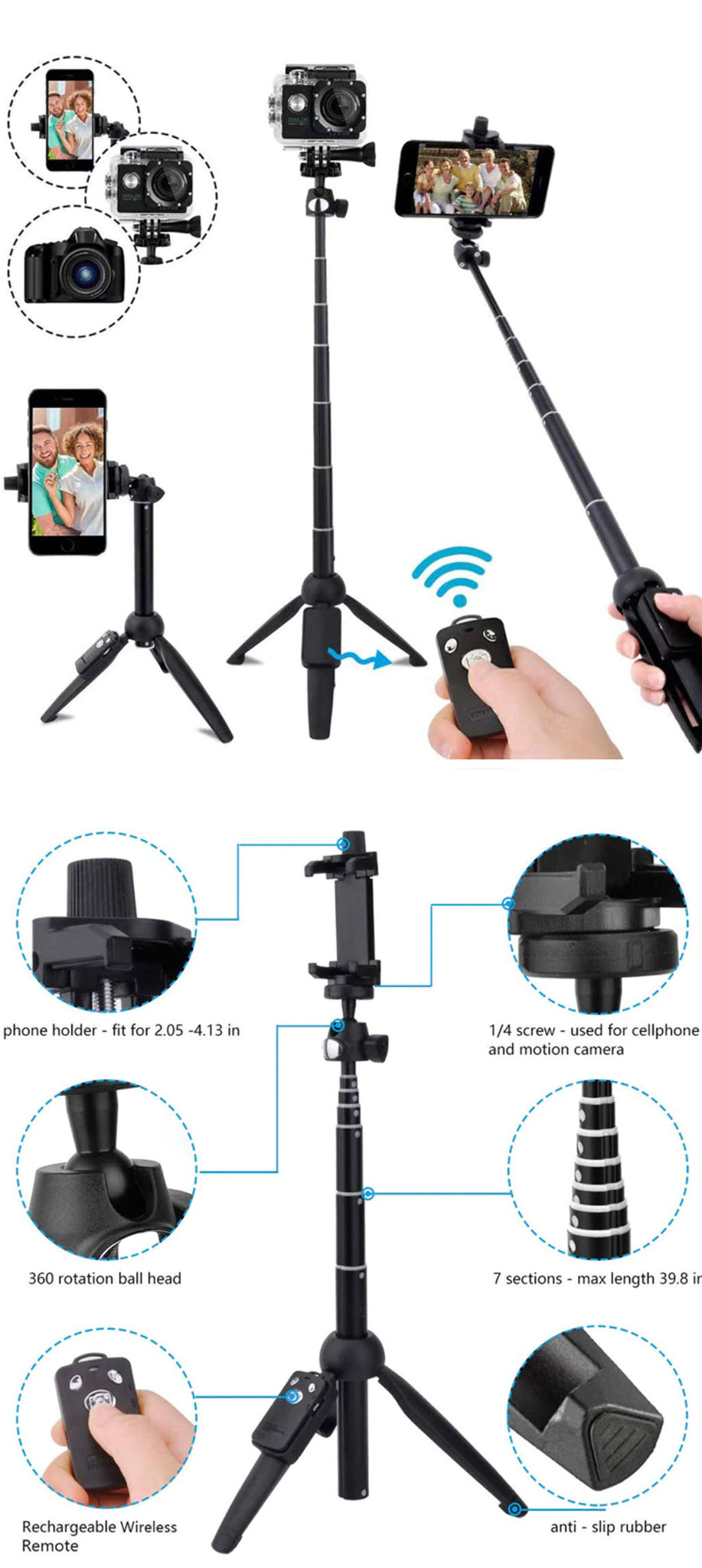 Wireless Bluetooth Super Selfie Stick Product Features