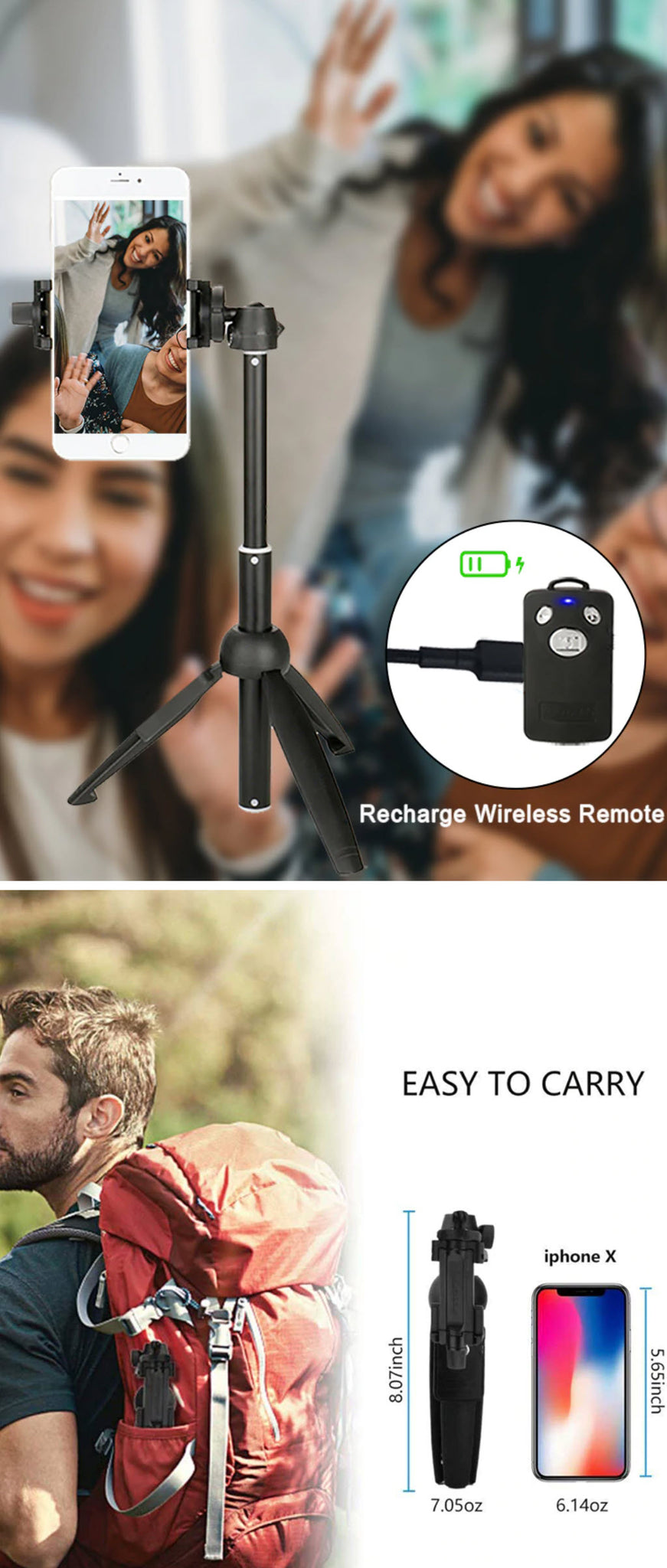 Wireless Bluetooth Super Selfie Stick Recharge Wireless Remote Easy to Carry