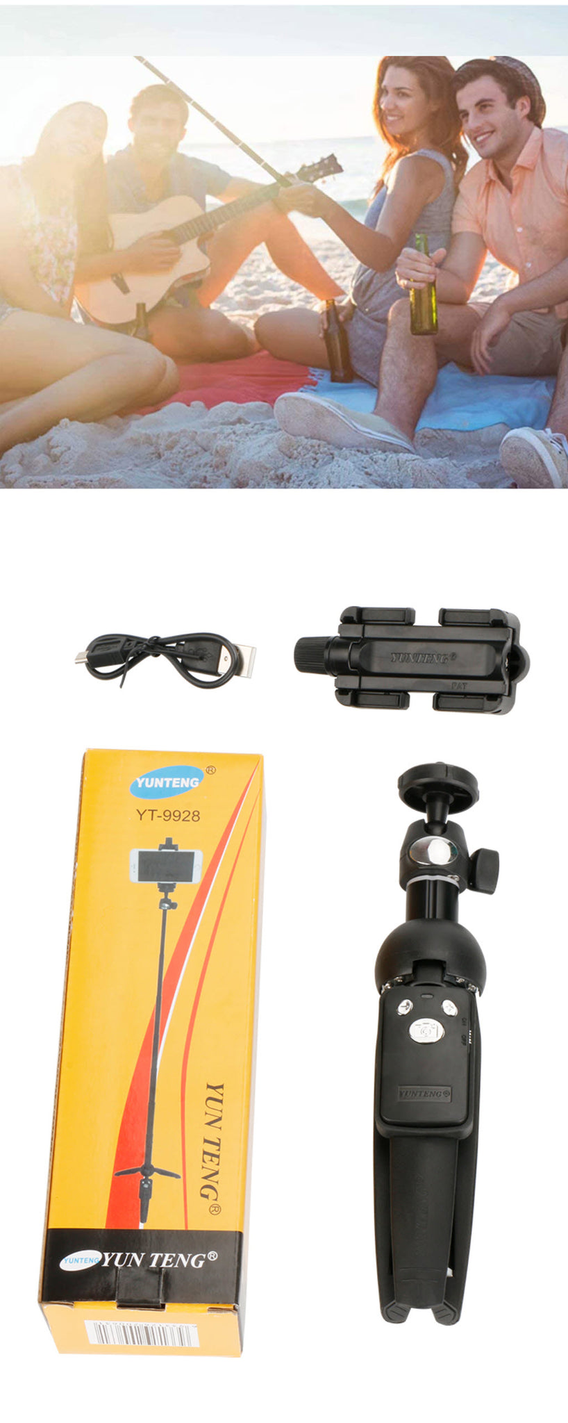 Wireless Bluetooth Super Selfie Stick Four People Taking Selfie On Beach Package Contents