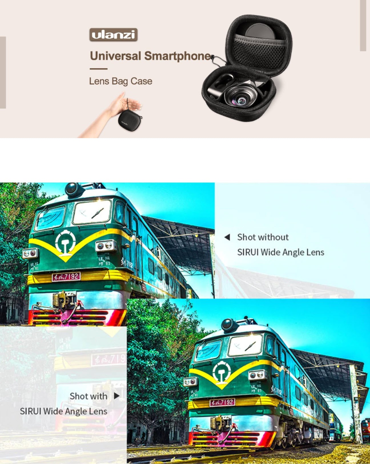 Wide Angle 10X Macro Phone Lens Bag Case Shot Without and With Sirui Wide Shot Lens