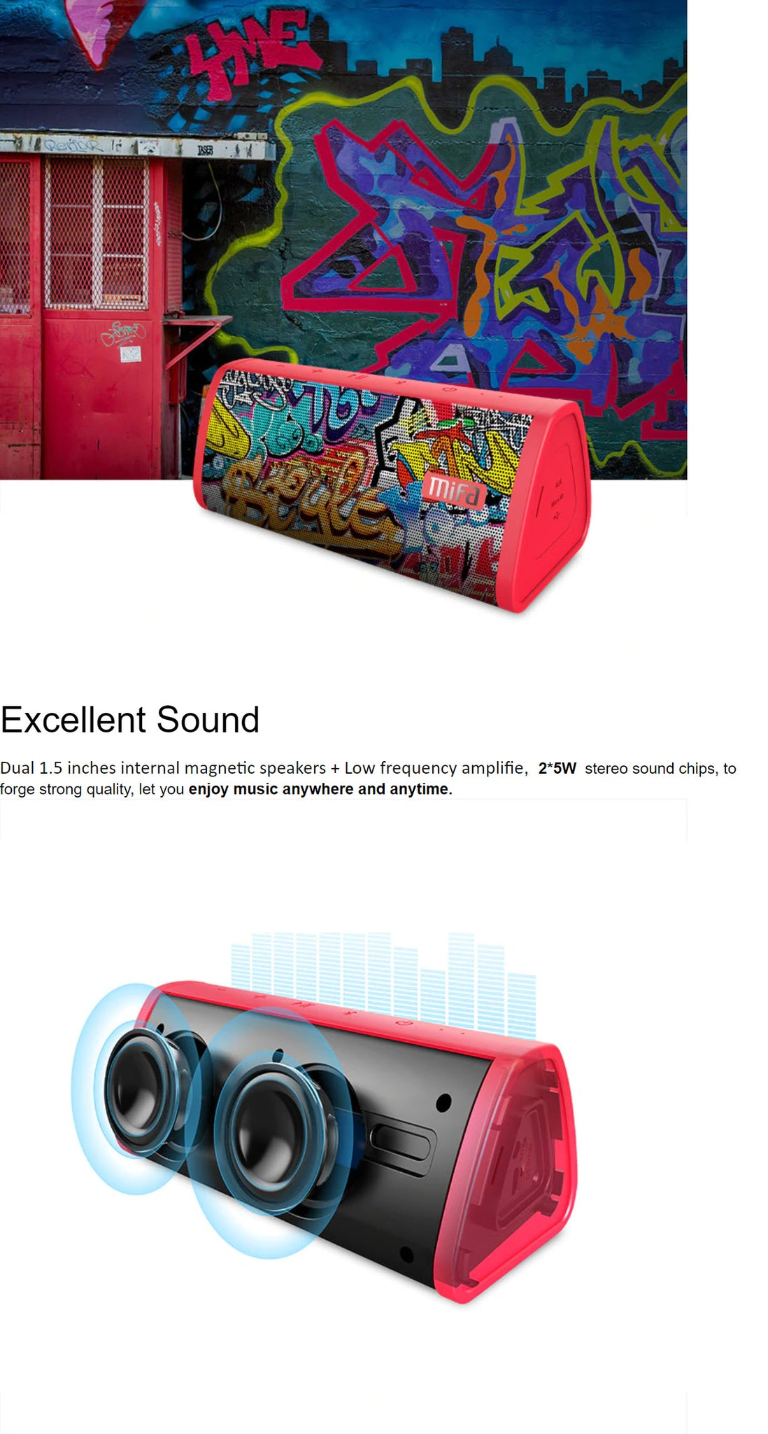 MIFA Red-Graffiti Bluetooth Speaker  Excellent Sound Product Image