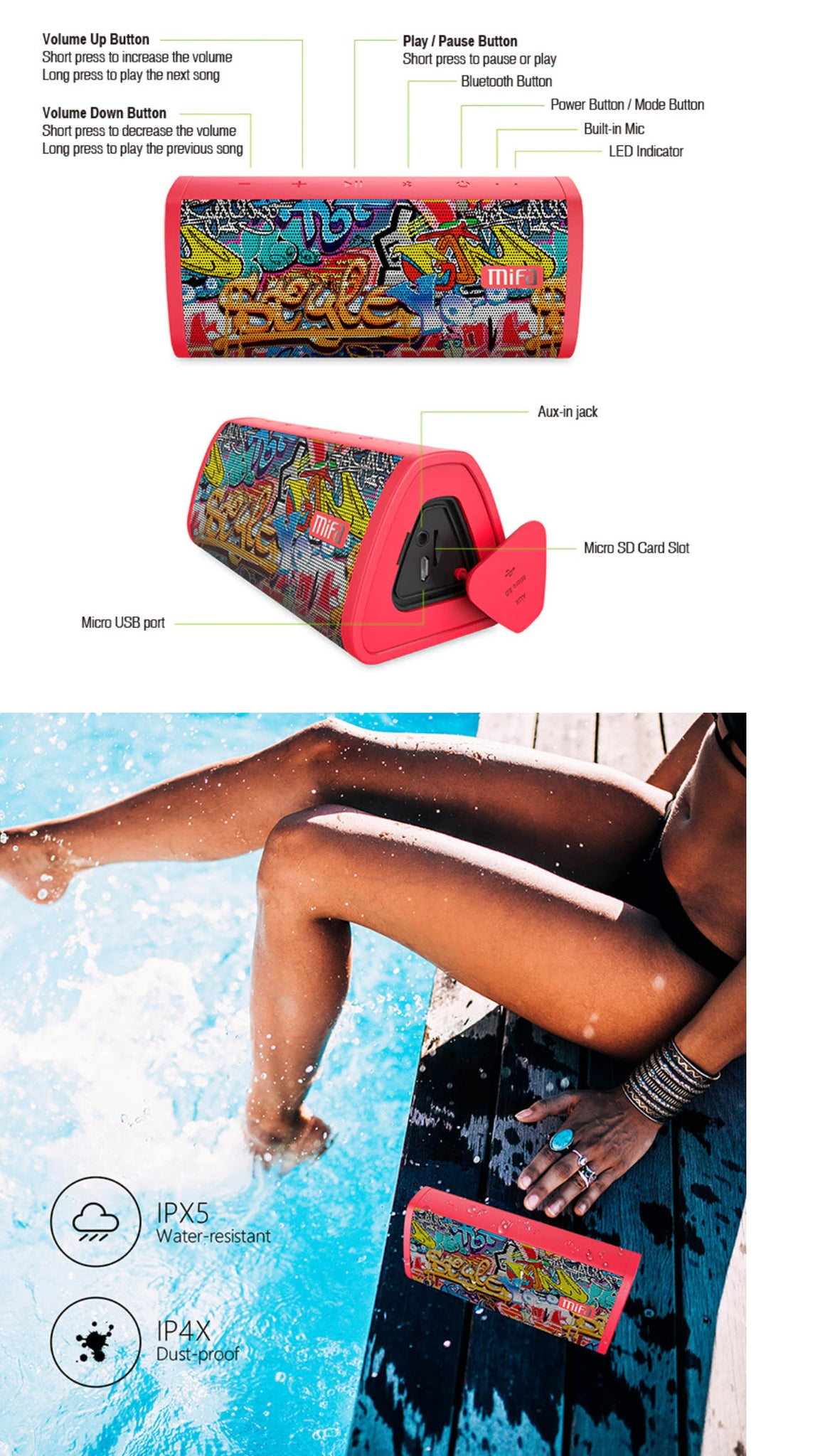 MIFA Red-Graffiti Bluetooth Speaker Product Features Woman By Pool with Mifa Speaker