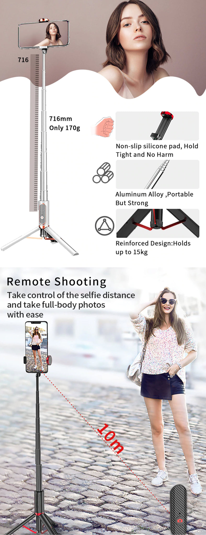 Ulanzi SK-01 Bluetooth Tripod Selfie Stick Product Features Remote Shooting