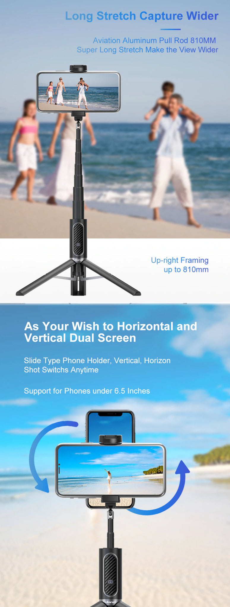 Ulanzi SK-01 Bluetooth Tripod Selfie Stick Long Stretch Capture Wider As Your Wish Horizontal and Vertical Dual Screen