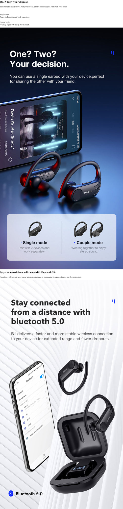 SANLEPUS Bluetooth TWS Sport Earphones One? Two? Your Decision Stay Connected