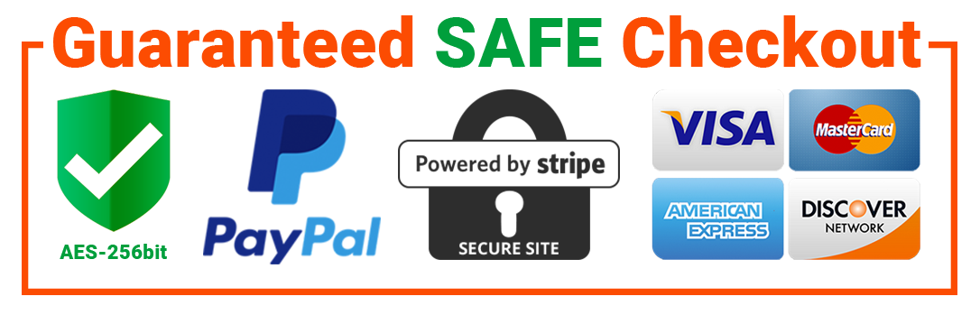 Guaranteed Safe Checkout Paypal Visa Mastercard Amex Discover Powered by Stripe Trust Badge