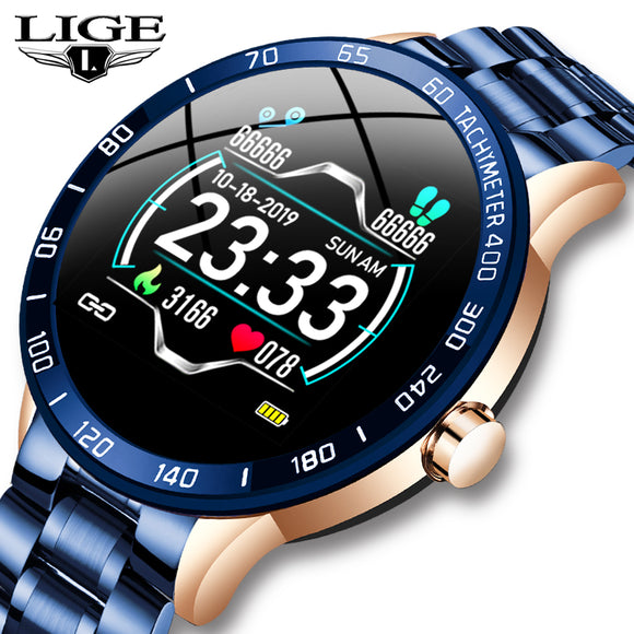 LIGE Steel Band Smartwatch with Heart Rate and Blood Pressure Monitor and Sport Multi-Function Mode Fitness Tracker Waterproof for Android and iOS - FuegoGear │ The Hottest Deals