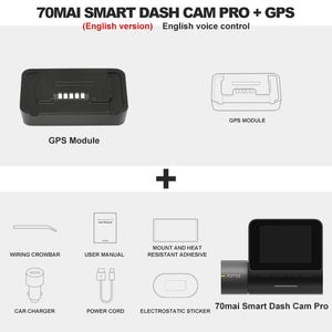 Original 70mai Dash Cam Pro with 1944P Speed, Coordinates GPS, WiFi DVR, Voice Control, and 24H Park Security - FuegoGear │ The Hottest Deals