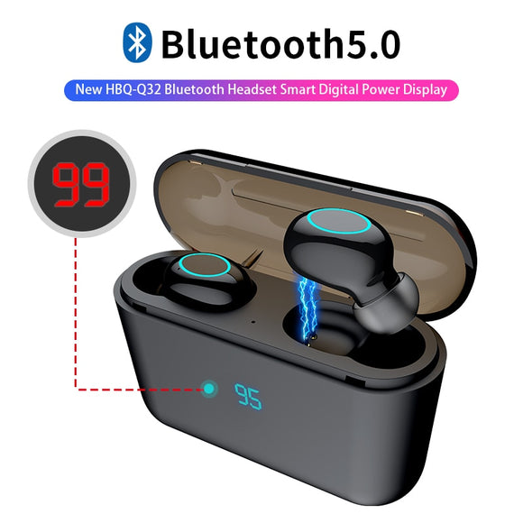Hanxi HBQ-Q32 TWS Bluetooth Earphones with Touch Control and Mic LED Power Display Charge Box Wireless 3D Stereo Music - FuegoGear │ The Hottest Deals