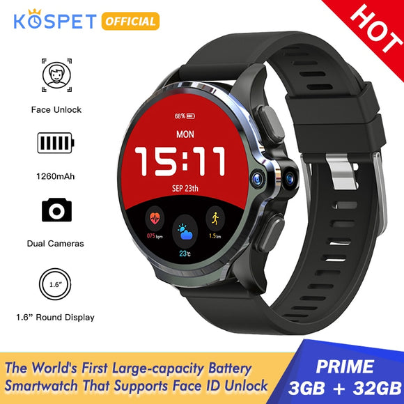 Powerful KOSPET Prime 3GB 32GB Smartwatch with 1260mAh Battery Dual Camera Face ID Unlock 1.6