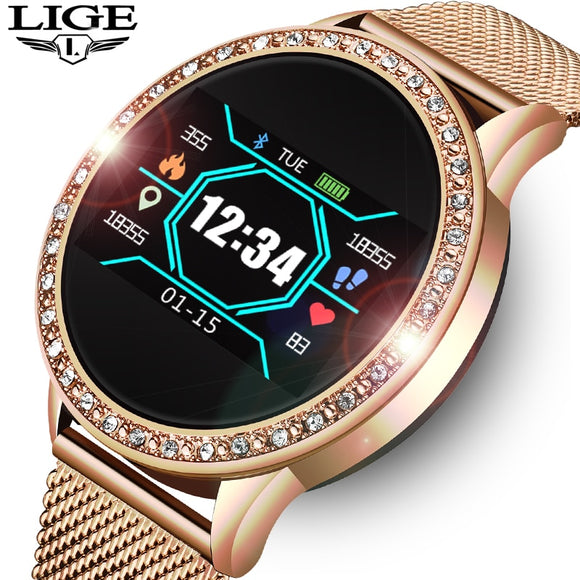Elegant LIGE L2 Smartwatch with Blood Pressure and Heart Rate Monitor and Fitness Sport Tracker - FuegoGear │ The Hottest Deals