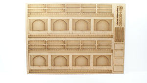 N Gauge Retaining wall with wide arches Style 2