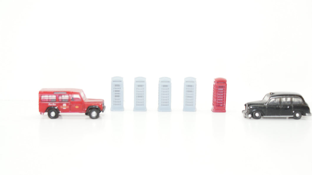 N Gauge extra fine detail Telephone Boxes Pack of 5