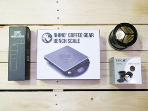 Gold Mesh Filter, Hand Grinder & Scale | Nine Yards Coffee | Northern Beaches, Sydney