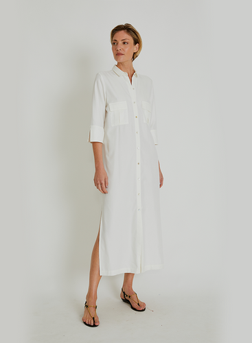 Utilitarian Pocket Shirt Dress 14758 Off White Lenny V21