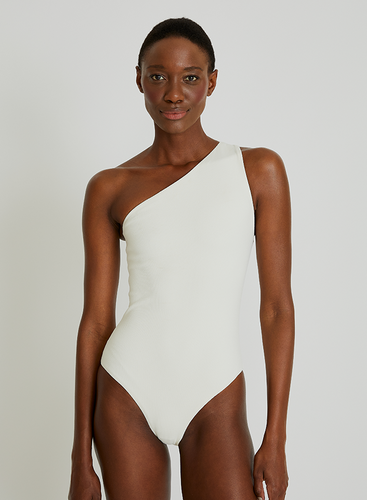 Geometric One Shoulder Maillot 924 Off White Lenny V21