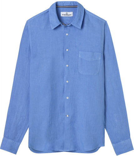 Diva Ocean Blue - Plain Linen Shirt Fitted Cut
