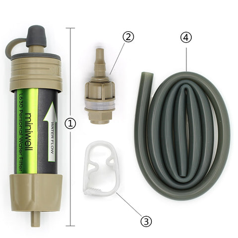Survival water  filter system  for outdoor sport camping emergency survival tool.