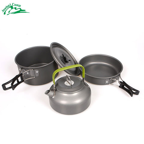 Light, Durable, and Easy to Set Up, Three pieces Camping Cookware Kit!