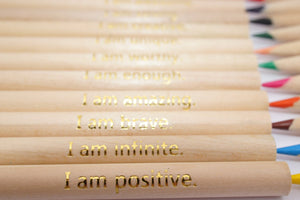 "Empowerment Pencils™ Affirmations with a twist, makes a perfect gift! Set of 12 with ""I am"" statements, I am enough, I am strong, I am brave"