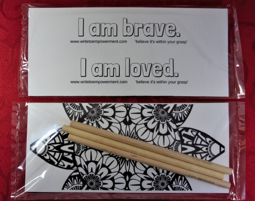 Mini Empowerment Pack: I am brave, I am loved. Set of three Empowerment Pencils™ with insert that can be used as a bookmarks.