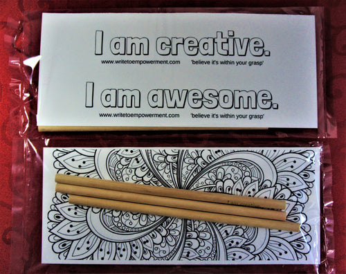 Mini Empowerment Pack: I am creative/I am awesome. Set of three Empowerment Pencils with insert to colour. Party favor/bookmark